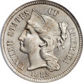 Three Cent Nickels, 1885 3CN MS66 NGC. CAC....