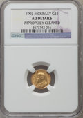 Commemorative Gold: , 1903 G$1 Louisiana Purchase/McKinley -- Improperly Cleaned -- NGCDetails. AU. NGC Census: (2/2079). PCGS Population (7/310...