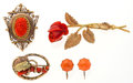 Estate Jewelry:Lots, Group of Coral, Gold, Gold-Plated Jewelry. ... (Total: 4 Items)