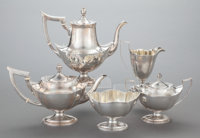 A FIVE PIECE AMERICAN PLYMOUTH PATTERN SILVER TEA AND COFFEE SERVICE, Gorham Manufac