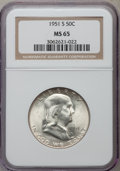 Franklin Half Dollars: , 1951-S 50C MS65 NGC. NGC Census: (1020/147). PCGS Population(1444/161). Mintage: 13,696,000. Numismedia Wsl. Price for pro...