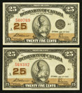 Canadian Currency: , DC-24c 25¢ 1923 Two Examples.. ... (Total: 2 notes)