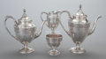 Silver Holloware, American:Tea Sets, A FOUR PIECE AMERICAN SILVER TEA AND COFFEE SERVICE, InternationalSilver Co., Meriden, Connecticut, circa 1900. Marks: IN...(Total: 4 Items)