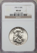 Franklin Half Dollars: , 1951-S 50C MS64 NGC. NGC Census: (729/1167). PCGS Population(1613/1605). Mintage: 13,696,000. Numismedia Wsl. Price for pr...