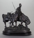 Sculpture, After EVGENI EVGEN'EVICH LANSERE (Russian, 1875-1946). A Zaporozhian Cossack After Battle. Bronze with brown patina. 17 ...