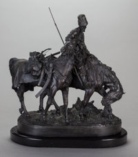 After EVGENI EVGEN'EVICH LANSERE (Russian, 1875-1946) A Zaporozhian Cossack After Battle Bronze with