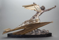 FREDERIC FOCHT (French, b. 1879) L'Aviation, circa 1925-30 Bronze with silver and gold patina 18-