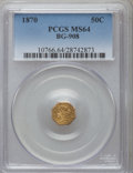 California Fractional Gold: , 1870 50C Liberty Octagonal 50 Cents, BG-908, R.5, MS64 PCGS. PCGSPopulation (13/16). NGC Census: (0/7). ...