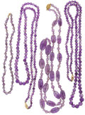 Estate Jewelry:Lots, Lot of Amethyst Necklaces. ... (Total: 4 Items)
