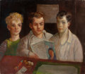 Fine Art - Painting, American:Modern  (1900 1949)  , JACK LEVITZ (American, 20th Century). Three Young Boys withMagazine and Dice. Oil on canvas. 26 x 30 inches (66.0 x 76....