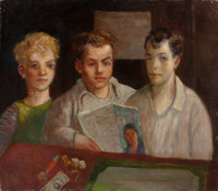 JACK LEVITZ (American, 20th Century) Three Young Boys with Magazine and Dice Oil on canvas 26 x 3