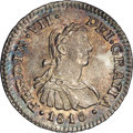 Mexico: , Mexico: Ferdinand VII 1/2 Real 1810Mo-HJ, KM73, MS66 NGC, aspectacular little coin with razor sharp details and iridescentsurfaces...