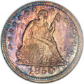 Seated Quarters, 1850 25C MS67 NGC. CAC. Briggs 1-A....