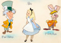 Animation Art:Production Drawing, Alice in Wonderland Alice, The March Hare, and The MadHatter Style Guide Painting (Walt Disney, 1950s-60s)....