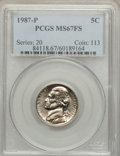 Jefferson Nickels: , 1987-P 5C MS67 Full Steps PCGS. PCGS Population (24/0). NGC Census: (26/0). ...
