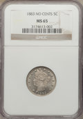 Liberty Nickels: , 1883 5C No Cents MS65 NGC. NGC Census: (1872/534). PCGS Population(1420/393). Mintage: 5,479,519. Numismedia Wsl. Price fo...