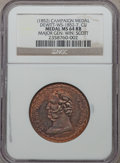 U.S. Presidents & Statesmen, (1852) Winfield Scott Campaign Medal MS64 Red and Brown NGC.DeWitt-WS-1852-7. Copper....