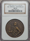 Betts Medals, 1739 Admiral Vernon, Porto Bello AU53 NGC. Betts-212, Adams-ChaoPBv-23-T, R.6....