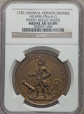 Betts Medals, 1739 Admiral Vernon, Porto Bello, Icons AU53 NGC. Betts-224,Adams-Chao PBvi-6-G, R.5....
