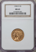 Indian Half Eagles: , 1908-D $5 MS63 NGC. NGC Census: (925/495). PCGS Population(1300/361). Mintage: 148,000. Numismedia Wsl. Price for problem ...