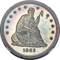 Proof Seated Quarters, 1863 25C PR67 NGC. Briggs 4-D....