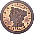 Proof Braided Hair Half Cents, 1843 1/2 C Original PR64 Red and Brown PCGS. CAC. B-1a, R.6. Our EAC Grade PR64....