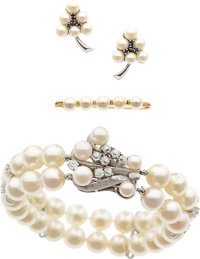 Cultured Pearl, Diamond, Sapphire, White Gold Jewelry