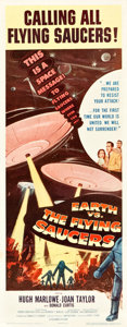 "Movie Posters:Science Fiction, Earth vs. the Flying Saucers (Columbia, 1956). Insert (14"" X 36"")....."