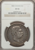 Coins of Hawaii: , 1883 $1 Hawaii Dollar XF45 NGC. NGC Census: (65/207). PCGSPopulation (166/263). Mintage: 500,000. ...