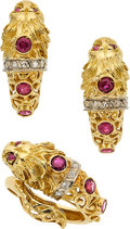 Estate Jewelry:Lots, DIAMOND, RUBY, GOLD JEWELRY SUITE. ...