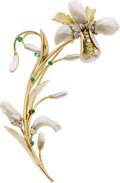 Jewelry, FRESHWATER CULTURED PEARL, DIAMOND, EMERALD, GOLD BROOCH, SOMOS. ...