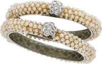 PAIR OF CULTURED PEARL, DIAMOND, WHITE GOLD BRACELETS