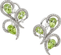 PERIDOT, DIAMOND, WHITE GOLD EARRINGS