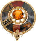 Jewelry, VICTORIAN CAIRNGORM, AGATE, GOLD BROOCH. ...