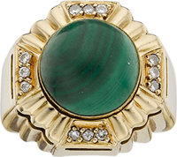 INTERCHANGEABLE MALACHITE, LAPIS, ONYX, DIAMOND GOLD RING