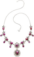 Jewelry, STAR RUBY, DIAMOND, WHITE GOLD, SILVER NECKLACE. ...
