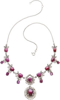 STAR RUBY, DIAMOND, WHITE GOLD, SILVER NECKLACE