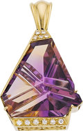 Estate Jewelry:Lockets - Pendants , AMETRINE, DIAMOND, GOLD PENDANT, SOMOS. ...