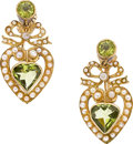 Estate Jewelry:Earrings, PERIDOT, SEED PEARL, GOLD EARRINGS, KREMENTZ. ...