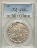 Bust Half Dollars: , 1827 50C Square Base 2 -- Cleaning -- PCGS Genuine. AU Details. NGCCensus: (132/1198). PCGS Population (206/1103). Mintage...