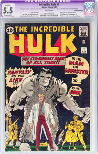 The Incredible Hulk #1 (Marvel, 1962) CGC Apparent FN- 5.5 Extensive (P) White pages