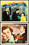 "Movie Posters:Romance, Break of Hearts (RKO, 1935). Title Lobby Card and Lobby Card (11"" X 14"").. ... (Total: 2 Items)"