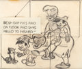 Animation Art:Production Drawing, Pinocchio Pinocchio, Gepetto, and Figaro Storyboard Drawing(Walt Disney, 1940)....