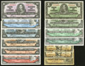 Canadian Currency: , Shinplasters, King George VI and Queen Elizabeth II.. ... (Total:13 notes)