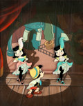 Animation Art:Production Cel, Pinocchio Can-Can Dancer Marionettes Production CelCourvoisier Setup (Walt Disney, 1940)....