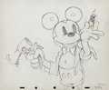 Animation Art:Production Drawing, Magician Mickey Mickey Mouse and Donald Duck ProductionDrawing (Walt Disney, 1937)....