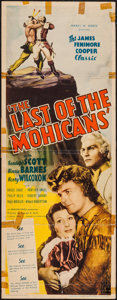 "Movie Posters:Adventure, The Last of the Mohicans (United Artists, 1936). Insert (14"" X36""). Adventure.. ..."