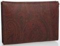 Luxury Accessories:Accessories, Etro Red Paisley Coated Canvas Makeup Pouch. ...
