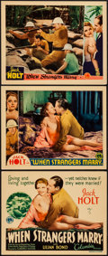 "Movie Posters:Romance, When Strangers Marry (Columbia, 1933). Title Lobby Card & Lobby Cards (2) (11"" X 14""). Romance.. ... (Total: 3 Items)"