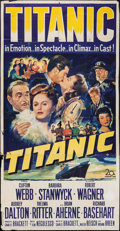 "Movie Posters:Drama, Titanic (20th Century Fox, 1953). Three Sheet (41"" X 78""). Drama....."